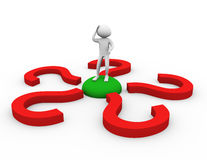3d man in doubt about decision. 3d man encircled by question mark symbols Royalty Free Stock Images