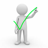 3d man drawing check mark. 3d man drawing green check mark on white background Stock Images
