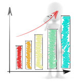 3d man drawing a graph. 3d man business man drawing a graph Stock Image