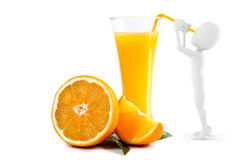 3d man drinking orange juice Royalty Free Stock Photos
