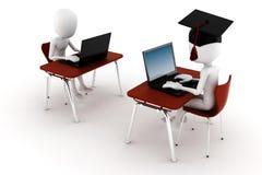 3d man e-learningm isolated on white. Background Stock Photos