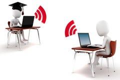 3d man e-learningm isolated on white. Background Stock Photo
