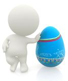 3D man with an easter egg Stock Image