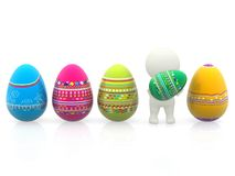 3D man with easter eggs Stock Photos