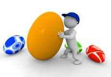 3d man with eggs Stock Images