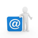3d man email. 3d man human email cube blue mail Royalty Free Stock Photo