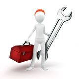 3d man engineer with toolbox and wrench Stock Images
