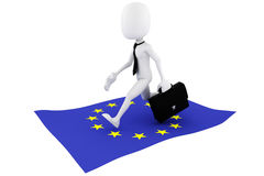 3d man EU flag business concept. On white background Royalty Free Stock Photo