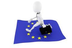 3d man EU flag business concept Royalty Free Stock Image