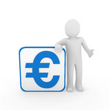 3d man euro blue cube Stock Photo