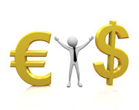 3d man with Euro and Dollar symbol Royalty Free Stock Photo