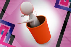 3d man falling from bucket  illustration Royalty Free Stock Photos