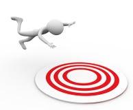 3d man falling on target Royalty Free Stock Image