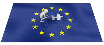 3d man finalizing European Union flag puzzle Stock Images
