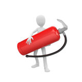 3d man with fire extinguisher. 3d man holding a big red fire extinguisher Stock Images