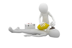 3d man first aid. 3d man doing artificial respiration first aid Stock Image