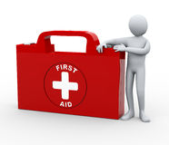 3d man with first aid medical kit. 3d illustration of man with first aid box.  3d rendering of human character Royalty Free Stock Photos