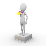 3D man in first place Royalty Free Stock Image
