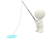 3D man fishing Royalty Free Stock Photo