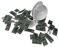 3D man floating in money Stock Photography