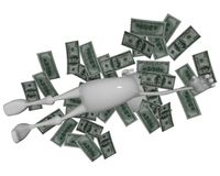 3D man floating in money. 3D character floating in money, dollars   - isolated over a white background Stock Photography