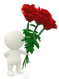 3D man with flowers Royalty Free Stock Images