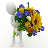 3d man with  flowers Royalty Free Stock Photography
