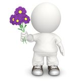 3D man with flowers Stock Photos