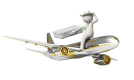 3d man flying on a gold airplane Stock Photos