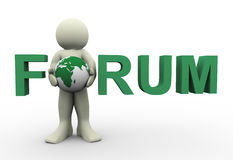 3d man forum text. 3d render of man with globe, standing in forum text. 3d illustration of human character Royalty Free Stock Image