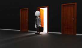 3d man in front of an open door Stock Image