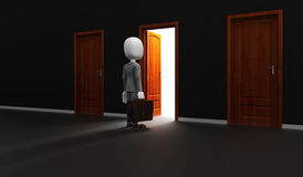 3d man in front of an open door Stock Photo