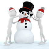 3d man and a funny snow man Royalty Free Stock Image