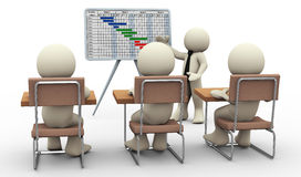 3d man gantt chart presentation. 3d render of businessman presenting project gantt chart. 3d illustration of human character Stock Photos