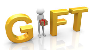 3d man gift. 3d man holding gift box, standing in between text 'gift Royalty Free Stock Photos