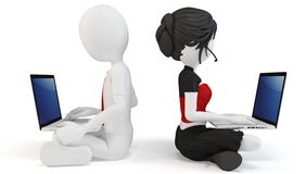 3d man and girl with laptops Royalty Free Stock Photos