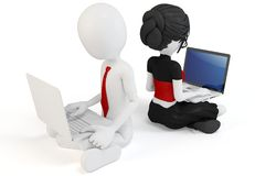 3d man and girl with laptops Stock Image