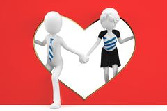 3d man and girl lovers Royalty Free Stock Photo