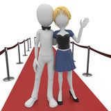 3d man and girl on red carpet. Isolated on white Royalty Free Stock Photography