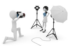 3d man and girl studio photo session Stock Photography