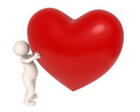 3d man giving big heart. 3d guy holding a big red heart in his hands - Valentine's day concept - Isolated Stock Photography