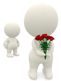 3D man giving flowers Stock Photography