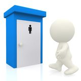 3D man going to the toilet Royalty Free Stock Image
