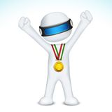 3d man with Gold Medal in vector Royalty Free Stock Image