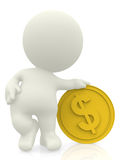 3D man with golden coin Stock Photo