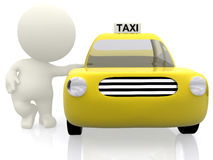 3D man grabbing a taxi Stock Photos