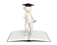 3d man - Graduation - Thumbs Up. 3d man showing thumbs up and standing on a book - Graduation concept - DOF Royalty Free Stock Images