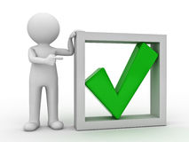 3d man and green check mark. 3d man pointing finger at green check mark in box on white background Stock Images