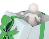 3d man in a green gift box Stock Photo