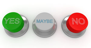 3d man with green, red and gray buttons. Yes no maybe Royalty Free Stock Images